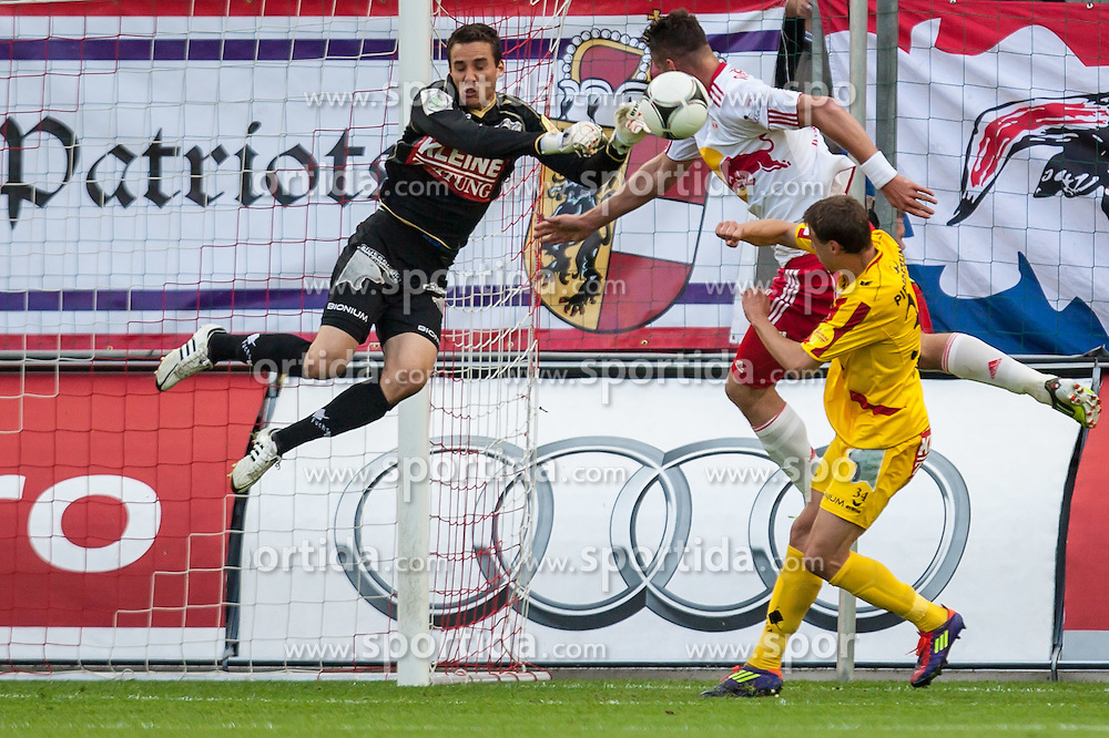 "10.05.2012, Red Bull Arena, Salzburg, AUT, 1. FBL, Red Bull Salzburg vs KSV 1919, 34. Spieltag im Bild Raphael Wolf, (Kapfenberger SV 1919, #1), Stefan Maierhofer, (Red Bull Salzburg, #9), Michael Hanek, (Kapfenberger SV 1919, #34) // during the Austrian ""Bundesliga"" Match, 34th Round, between FC Red Bull Salzburg and KSV 1919 at the Red Bull Arena, Salzburg, Austria on 2012/05/10. EXPA Pictures © 2012, PhotoCredit: EXPA/ Juergen Feichter"