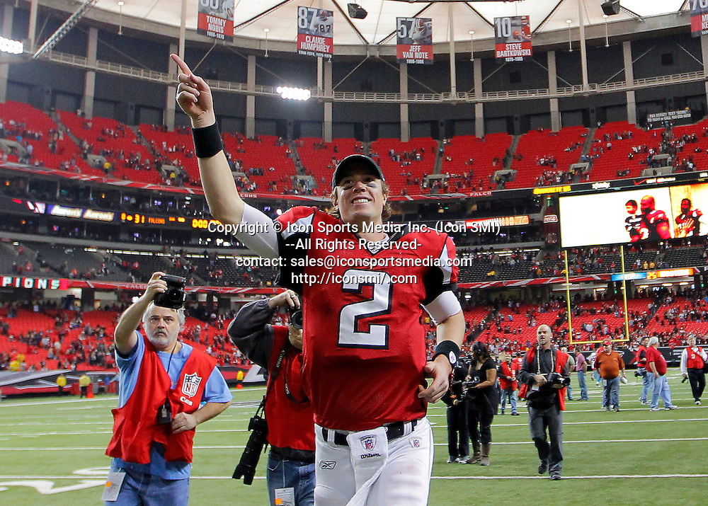 02 January 2011: Atlanta Falcons quarterback Matt Ryan (2) celebrates the victory to clinch the NFC South in the Atlanta Falcons 31-10 victory over the Carolina Panthers at the Georgia Dome in Atlanta Georgia.