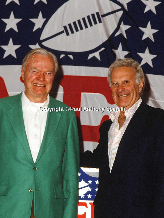 (L-R) New York Giants football co-owners Wellington Mara and Steve Tisch pose for a photo at the NFL football owners meeting circa March 1, 1991 in Waikoloa Village, HI. (©Paul Anthony Spinelli)