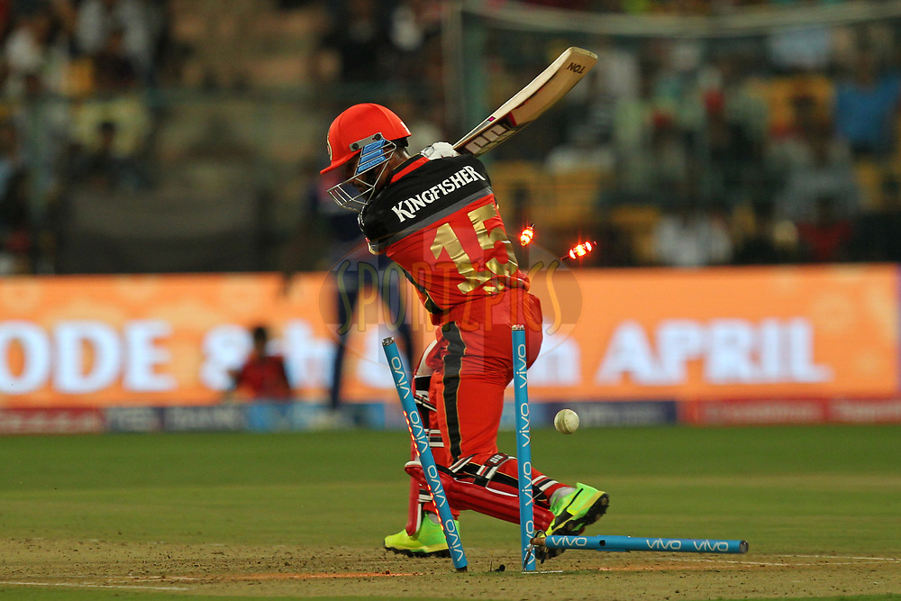 Pawan Negi of Royal Challengers Bangalore bowled out during match 5 of the Vivo 2017 Indian Premier League between the Royal Challengers Bangalore and the Delhi Daredevils held at the M.Chinnaswamy Stadium in Bangalore, India on the 8th April 2017Photo by Prashant Bhoot - IPL - Sportzpics