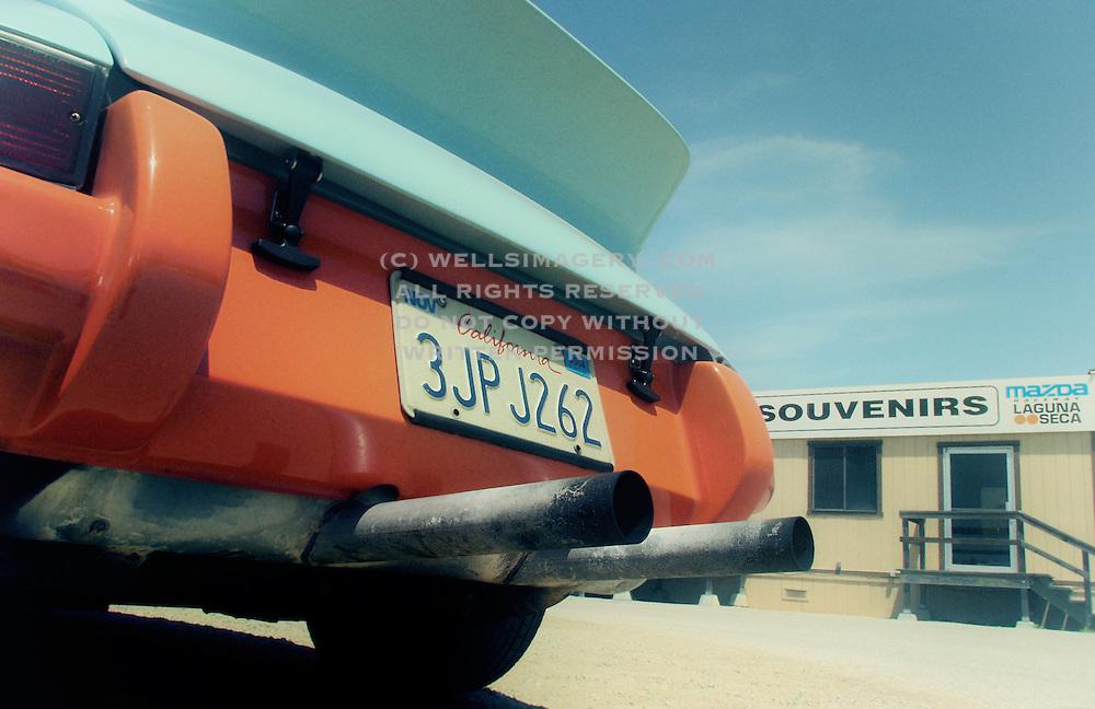 Image of a blue Porsche 911 at the R Gruppe Treffen, Mazda Raceway Laguna Seca, Monterey, California, America west coast