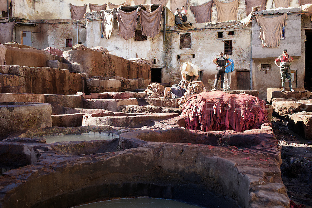 A daily life scenario that is played out everyday in The Leather Souq in Fez, which is the oldest tannery in the world and dates back at least nine centuries. Workers stand in stone vessels, where hides are first soaked in diluted acidic pigeon excrement and then transferred to other vessels containing vegetable dyes such as henna, saffron and mint. When the dying process has been completed the hides are dried on the roofs of the Medina. The tannery processes the hides (skins) of sheep and goats, turning them into high quality leather products such as bags, coats, shoes, slippers and other similar products. Fez, Morocco.