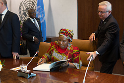 September 28, 2015 - United Nations Secretary General Ban Ki-moon, with H.E. Dr. Nkosazana Dlamini Zuma, Chairperson, of the African Union. (Credit Image: ©  via ZUMA Wire)
