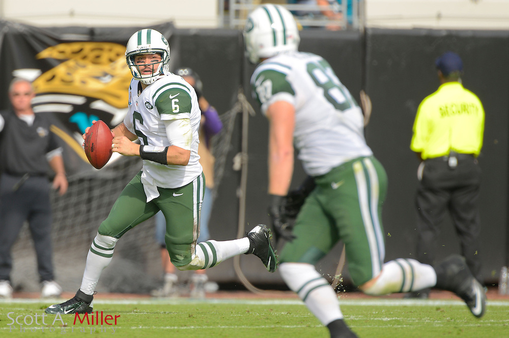 New York Jets quarterback Mark Sanchez (6) looks to pass during an NFL game against the Jacksonville Jaguars at EverBank Field on Dec 9, 2012 in Jacksonville, Florida. The Jets won 17-10...©2012 Scott A. Miller..