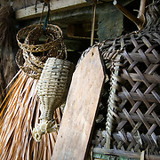 PHILIPPINES (Banaue, Province of Ifugao). 2009. Basketwork in a traditional Ifugao house near Banaue.