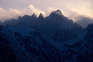 Clearing snow storm clouds over Mount Whitney, Eastern Sierra, California