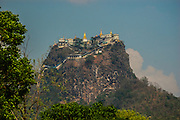 The Popa Taungkalat Buddhist monastery sits amazingly atop a volcanic plug in Burma (Myanmar)