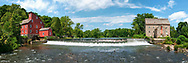 Panoramic view of both the Red mill and the Stone mill separated by the falls in historic Clinton, New Jersey