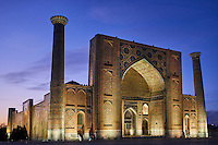 Ouzbékistan, Samarcande, classé Patrimoine Mondial de l'UNESCO, place du Reghistan, Medersa Uleug Bek // Uzbekistan, Samarkand, Unesco World Heritage, the Reghistan, Ulug Bek Madrasah