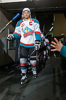 KELOWNA, CANADA - APRIL 3: Madison Bowey #4 of the Kelowna Rockets walks to the ice at the start of third period against the Seattle Thunderbirds on April 3, 2014 during Game 1 of the second round of WHL Playoffs at Prospera Place in Kelowna, British Columbia, Canada.   (Photo by Marissa Baecker/Getty Images)  *** Local Caption *** Madison Bowey;