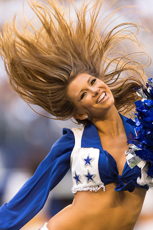 ARLINGTON, TX - NOVEMBER 18:  Cheerleader of the Dallas Cowboys performs during a game against the Cleveland Browns at Cowboys Stadium on November 18, 2012 in Arlington, Texas.  The Cowboys defeated the Browns 23-20.  (Photo by Wesley Hitt/Getty Images) *** Local Caption ***