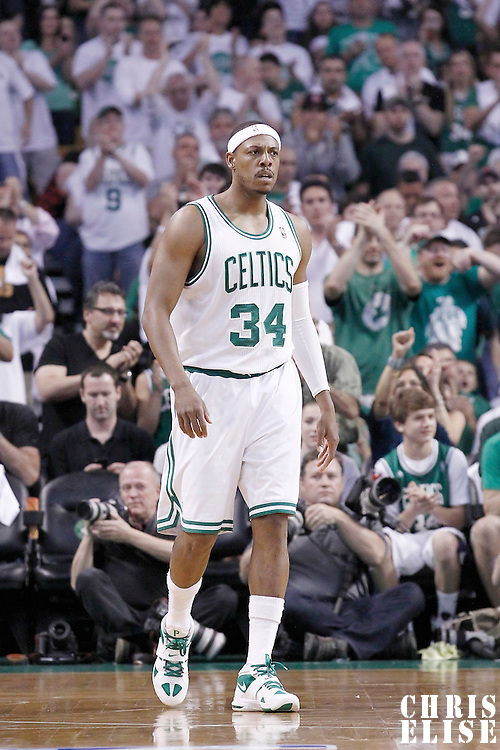 26 May 2012: Boston Celtics small forward Paul Pierce (34) is seen during the Boston Celtics 85-75 victory over the Philadelphia Sixer, in Game 7 of the Eastern Conference semifinals playoff series, at the TD Banknorth Garden, Boston, Massachusetts, USA.