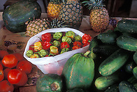 Scotch Bonnet peppers (very hot) in the market of Fort de France, Martinique - Photograph by Owen Franken