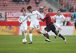 24.04.2016, Grundig Stadion, Nuernberg, GER, 2. FBL, 1. FC Nuernberg vs 1. FC Union Berlin, 31. Runde, im Bild Eroll Zejnullahu (1.FC Union Berlin) links gegen Sebastian Kerk (1.FC Nuernberg) rechts // during the 2nd German Bundesliga 31th round match between 1. FC Nuernberg vs 1. FC Union Berlin at the Grundig Stadion in Nuernberg, Germany on 2016/04/24. EXPA Pictures &copy; 2016, PhotoCredit: EXPA/ Eibner-Pressefoto/ Fudisch<br /> <br /> *****ATTENTION - OUT of GER*****
