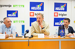 Ladivoj Gorjan, director , Gerald Martens, CEO of Ring International Holding AG  and Ales Klavzar, CEO of Helios Domzale d.d. and president of club KK Helios Domzale during press conference of KK Helios Domzale prior to the new basketball season 2014/15 on June 10, 2014 in Domzale, Slovenia. Photo by Vid Ponikvar / Sportida