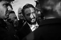 ACI TREZZA, ITALY - 28 OCTOBER 2017:  Five Star Movement (Italian: Movimento 5 Stelle, or M5S) candidate Giancarlo Cancelleri (center), running for governor of Sicily in the upcoming Sicilan regional election, is seen here during a rally in Aci Trezza, Italy, on October 28th 2017. <br /> <br /> The M5S organised a march from Aci Trezza to Catania (6 miles), where a rally will be held in the evening.<br /> <br />  The Sicilian regional election for the renewal of the Sicilian Regional Assembly and the election of the President of Sicily will be held on 5th November 2017.