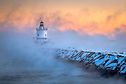 Extreme cold causes arctic sea smoke to form in Casco Bay at Spring Point Ledge Lighthouse in South Portland, Maine. This is the kind of weather landscape photographers dream about, so being out in the extreme cold really doesn't bother me.