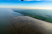 Nederland, Friesland, Gemeente Dongeradeel, 04-11-2018; Noord-Friesland Buitendijks, kweldergebied Noorderleeg. Waddenkust ter hoogte van Ternaard. De oorspronkelijke landaanwinning is  hier gestaakt.<br /> Fries: Noarderleech , onderdeel van Noard-Frysl&acirc;n B&ucirc;tendyks.<br /> Frisian coast, salt marsh and mudflat area with land reclamation.<br /> luchtfoto (toeslag op standaard tarieven);<br /> aerial photo (additional fee required);<br /> copyright &copy; foto/photo Siebe Swart