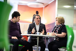 © Licensed to London News Pictures. 18/01/2019. Liverpool , UK. Liverpool Metro Mayor STEVE ROTHERHAM (c) with BEN HARRIS (l) and JULIE ROACH (r) , both of whom have lived experience of the detrimental effects of mental health stigma and support the campaign . Ava Max's number one single , Sweet but Psycho , has been criticised by the Zero Suicide Alliance (ZSA), a suicide prevention campaign group . In an open letter to the pop star and UK broadcasters , co-signed by Liverpool Mayor Steve Rotherham and Luciana Berger MP , the ZSA say the song's lyrics and the video's imagery reinforce negative perceptions about people with mental health issues and undermines their effort to combat stigma , which can prevent suicidal people from seeking help , with potentially life-threatening consequences . Photo credit: Joel Goodman/LNP