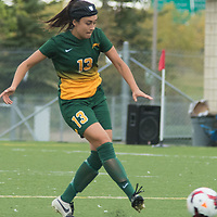 4th year midfielder Shayla Kapila (13) of the Regina Cougars during the Women's Soccer home game on September 11 at U of R Field. Credit: Arthur Ward/Arthur Images