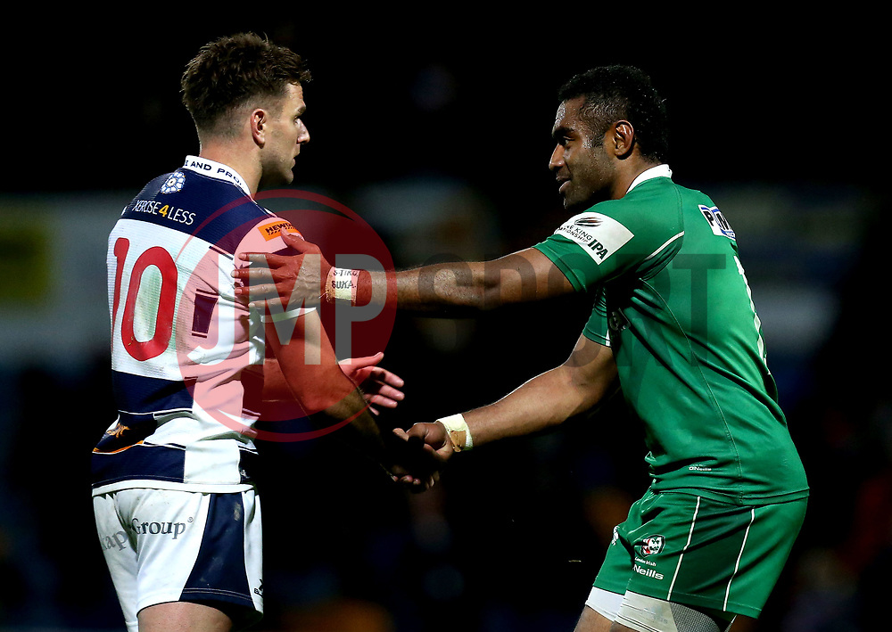 Aseli Tikoirotuma of London Irish shakes the hand of Joe Ford of Yorkshire Carnegie at full time - Mandatory by-line: Robbie Stephenson/JMP - 17/05/2017 - RUGBY - Headingley Carnegie Stadium - Leeds, England - Yorkshire Carnegie v London Irish - Greene King IPA Championship Final 1st Leg