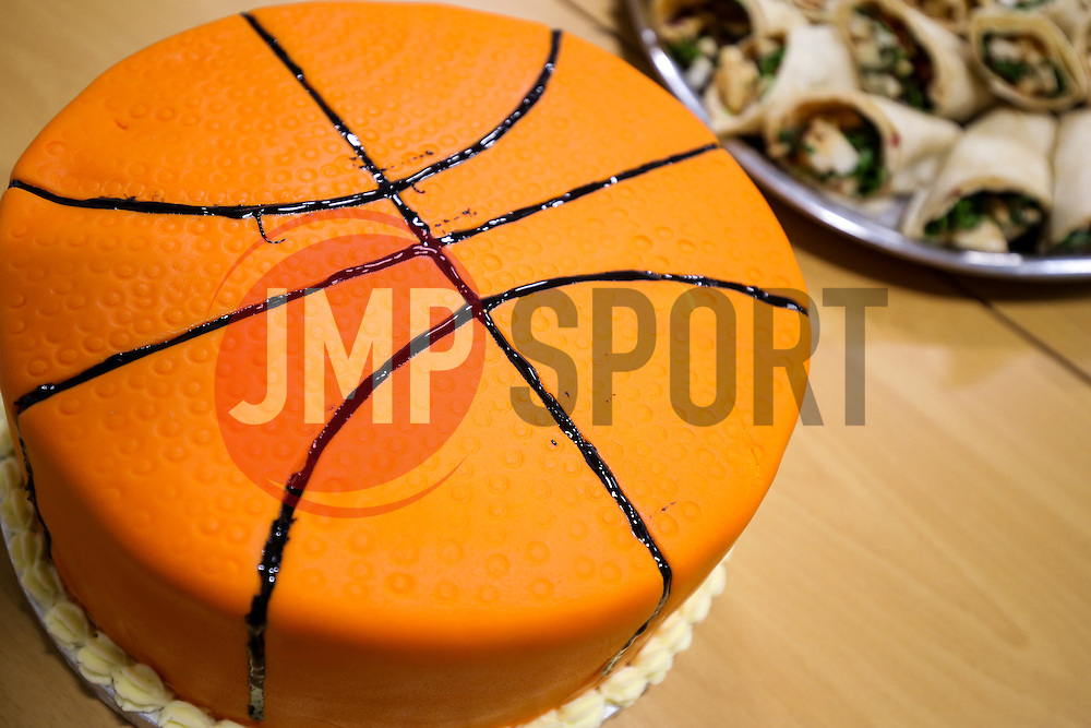 Basketball Birthday Cake - Rogan Thomson/JMP - 21/10/2016 - BASKETBALL - SGS Wise Arena - Bristol, England - Bristol Flyers v Leicester Riders - BBL Championship.