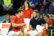Leon Smith, team captain of Great Britain chats to Dan Evans of Great Britain during the 2016 Davis Cup Semi Final at the Emirates Arena, Glasgow, United Kingdom on 18 September 2016. Photo by Craig Doyle.