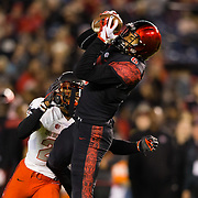 10 November 2018: San Diego State Aztecs wide receiver Tim Wilson Jr. (6) makes a catch over the middle for a first down in the second quarter. The Aztecs lost 27-24 to UNLV Saturday night at SDCCU Stadium falling a game behind Fresno State in the conference standings.