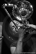 Berlin, DEU, 04.09.2002: Jazz Music , Joseph Bowie, trombone, Posaune, percussion, vocals, Defunkt, Black America, The Back Room, Funkmusic, Haus der Kulturen der Welt, Soundcheck, Berlin, Germany, 04.09.2002,  ( Keywords: Musiker ; Musician ; Musik ; Music ; Jazz ; Jazz ; Kultur ; Culture ) ,  [ Photo-copyright: Detlev Schilke, Postfach 350802, 10217 Berlin, Germany, Mobile: +49 170 3110119, photo@detschilke.de, www.detschilke.de - Jegliche Nutzung nur gegen Honorar nach MFM, Urhebernachweis nach Par. 13 UrhG und Belegexemplare. Only editorial use, advertising after agreement! Eventuell notwendige Einholung von Rechten Dritter wird nicht zugesichert, falls nicht anders vermerkt. No Model Release! No Property Release! AGB/TERMS: http://www.detschilke.de/terms.html ]