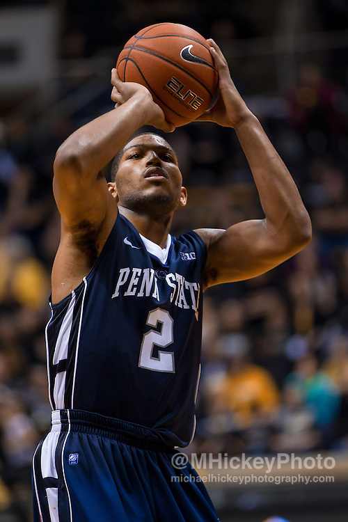 WEST LAFAYETTE, IN - JANUARY 13: D.J. Newbill #2 of the Penn State Nittany Lions shoots a free throw against the Purdue Boilermakers at Mackey Arena on January 13, 2013 in West Lafayette, Indiana. (Photo by Michael Hickey/Getty Images) *** Local Caption *** D.J. Newbill
