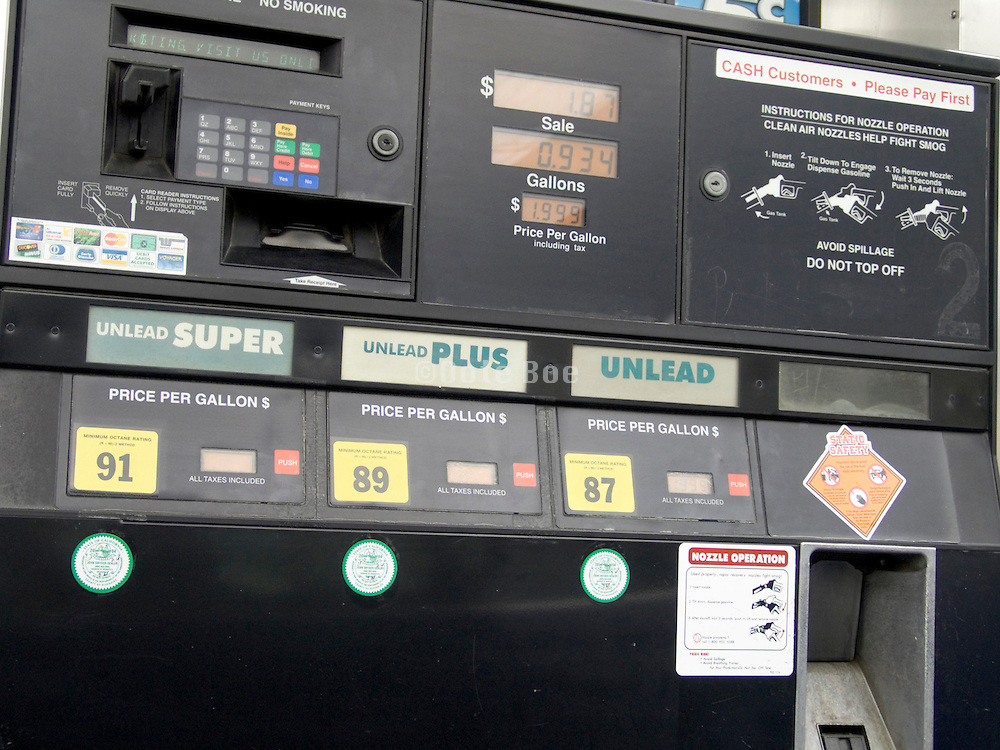 close up of gasoline pump USA