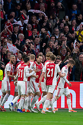 08-05-2019 NED: Semi Final Champions League AFC Ajax - Tottenham Hotspur, Amsterdam<br /> After a dramatic ending, Ajax has not been able to reach the final of the Champions League. In the final second Tottenham Hotspur scored 3-2 / Matthijs de Ligt #4 of Ajax scores the 1-0, celebrate Daley Blind #17 of Ajax, Kasper Dolberg #25 of Ajax, Frenkie de Jong #21 of Ajax, Hakim Ziyech #22 of Ajax