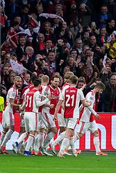 08-05-2019 NED: Semi Final Champions League AFC Ajax - Tottenham Hotspur, Amsterdam<br /> After a dramatic ending, Ajax has not been able to reach the final of the Champions League. In the final second Tottenham Hotspur scored 3-2 / Matthijs de Ligt #4 of Ajax scores the 1-0, celebrate Daley Blind #17 of Ajax, Kasper Dolberg #25 of Ajax, Frenkie de Jong #21 of Ajax, Hakim Ziyech #22 of Ajax