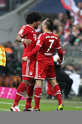 09.11.2013, Allianz Arena, Muenchen, GER, 1. FBL, FC Bayern Muenchen vs FC Augsburg, 12. Runde, im Bild l-r: Torjubel von DANTE #4 (FC Bayern Muenchen), Franck RIBERY #7 (FC Bayern Muenchen) // during the German Bundesliga 12th round match between FC Bayern Munich and FC Augsburg at the Allianz Arena in Muenchen, Germany on 2013/11/09. EXPA Pictures © 2013, PhotoCredit: EXPA/ Eibner-Pressefoto/ Kolbert<br /> <br /> *****ATTENTION - OUT of GER*****
