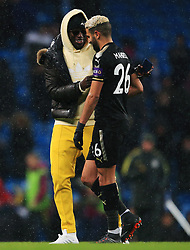 Manchester City's Ben Mendy consoles Riyad Mahrez of Leicester City at full time - Mandatory by-line: Matt McNulty/JMP - 10/02/2018 - FOOTBALL - Etihad Stadium - Manchester, England - Manchester City v Leicester City - Premier League