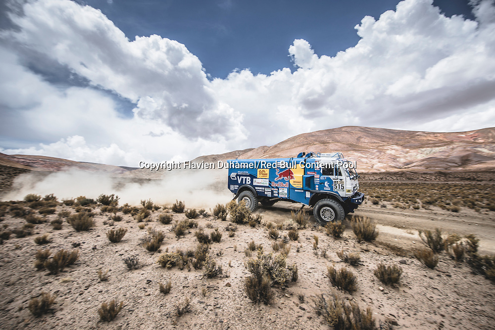 Anton Shibalov (RUS) of KAMAZ - Master races during stage 4 of Rally Dakar 2017 from San Salvador de Jujuy, Argentina to Tupiza, Bolivia on January 5, 2017. // Flavien Duhamel/Red Bull Content Pool // P-20170105-01700 // Usage for editorial use only // Please go to www.redbullcontentpool.com for further information. //