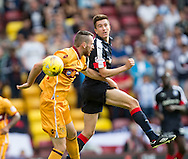 Dundee&rsquo;s Cammy Kerr outjumps Motherwell&rsquo;s Joe Chalmers - Motherwell v Dundee in the Ladbrokes Scottish Premiership at Fir Park, Motherwell. Photo: David Young<br /> <br />  - &copy; David Young - www.davidyoungphoto.co.uk - email: davidyoungphoto@gmail.com