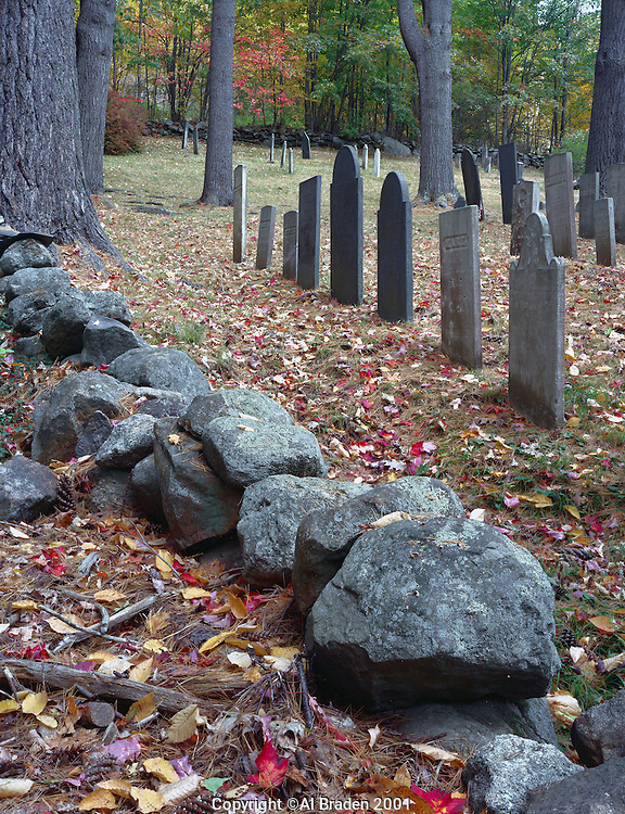 Fall foliage at Chesham Cemetery, Chesham, New Hampshire.