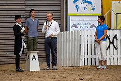 MEYER Carde (GER), Surabaya M, TOENJES Jan (Moderation), THEODORESCU Monica (Bundestrainer)<br /> Louisdor Preis <br /> Nachwuchspferde Grand Prix - Finalqualifikation<br /> Verden - Verdener Championate 2020<br /> 09. August 2020<br /> © www.sportfotos-lafrentz.de/Stefan Lafrentz