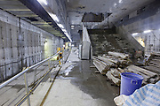 A partially constructed platform in one of the new stations in Taipei's MRT.