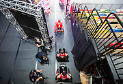 UNITED KINGDOM, London: 2015 World Wheelchair Rugby Challenge. Caption: France players head out onto the court before a game against Great Britain to decide who will finish fifth and sixth in the World Wheelchair Rugby Championships. Rick Findler / Story Picture Agency