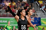 11th April 2018, Gold Coast Convention and Exhibition Centre, Gold Coast, Australia; Commonwealth Games day 7; Netball, England versus New Zealand; Maria Folau of New Zealand calls for the ball as Geva Mentor of England watches on