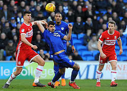 Daniel Ayala of Middlesbrough battles with Callum Paterson of Cardiff City- Mandatory by-line: Nizaam Jones/JMP - 17/02/2018 -  FOOTBALL - Cardiff City Stadium - Cardiff, Wales -  Cardiff City v Middlesbrough - Sky Bet Championship