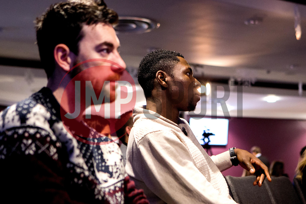 Daniel Edozie of Bristol Flyers listens to Adrian Webster who is the guest speaker as Bristol Sport hosts their monthly networking breakfast event at Ashton Gate Stadium - Mandatory by-line: Robbie Stephenson/JMP - 16/12/2016 - SPORT - Ashton Gate Stadium - Bristol, England - Big Sports Breakfast December