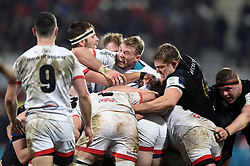 Kieran Treadwell of Ulster Rugby and Tom Ellis of Bath Rugby in action at a maul - Mandatory byline: Patrick Khachfe/JMP - 07966 386802 - 18/01/2020 - RUGBY UNION - Kingspan Stadium - Belfast, Northern Ireland - Ulster Rugby v Bath Rugby - Heineken Champions Cup