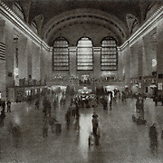 A view of the interior of the Grand Central train station in New York City. This image was created using the Bromoil process.
