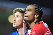 Joe Bunney and Nathan Delfouneso during the EFL Sky Bet League 1 match between Swindon Town and Rochdale at the County Ground, Swindon, England on 18 October 2016. Photo by Daniel Youngs.