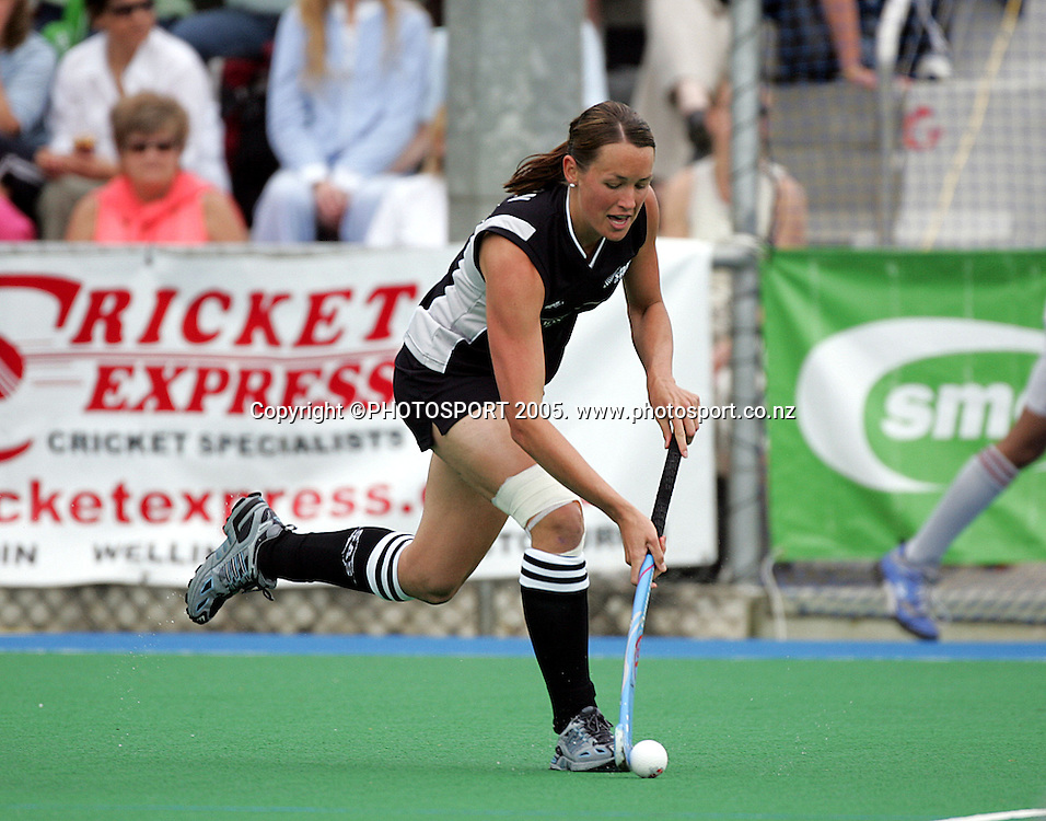 Black Sticks striker Honor Dillon in action during the Black Sticks test match against Australia played in Auckland, New Zealand, Saturday 30 October 2005. New Zealand won the match 1-0. Photo: Andrew Cornaga/PHOTOSPORT<br />