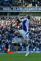 Photo: Andrew Unwin.<br />Blackburn Rovers v Middlesbrough. The Barclays Premiership. 18/03/2006.<br />Blackburn's Craig Bellamy celebrates scoring his team's first goal.