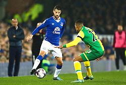 Everton's Kevin Mirallas takes on Martin Olsson of Norwich City  - Mandatory byline: Matt McNulty/JMP - 07966 386802 - 27/10/2015 - FOOTBALL - Goodison Park - Liverpool, England - Everton v Norwich City - Capital One Cup